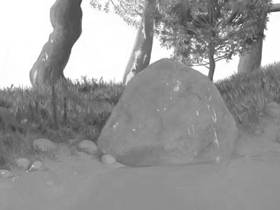Boulder illustration painting artrage tree trees leaves grass boulder rocks