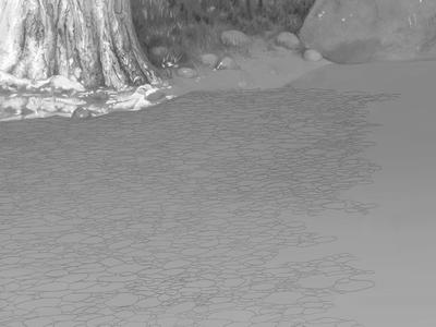 River Rocks illustration painting artrage tree boulder rocks water river
