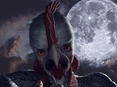 Κοτόπάνθρωπος horror moonlight moon painting illustration kotopanthropos kotopanthrope werechicken