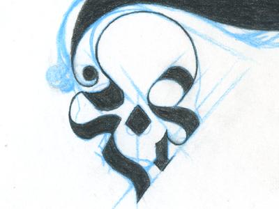 Skull hand drawn blackletter skull