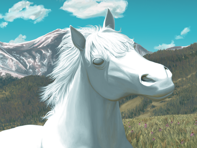 Horsey artrage painting illustration horse