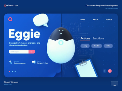 Character design and development | Service Landing page eggie egg medical robot robot bot smart interaction animation layout website web chatbot character design