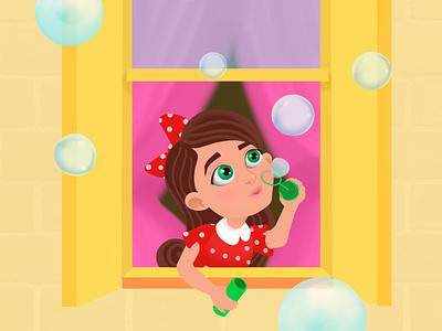 Казуальная девочка дует пузыри illustration