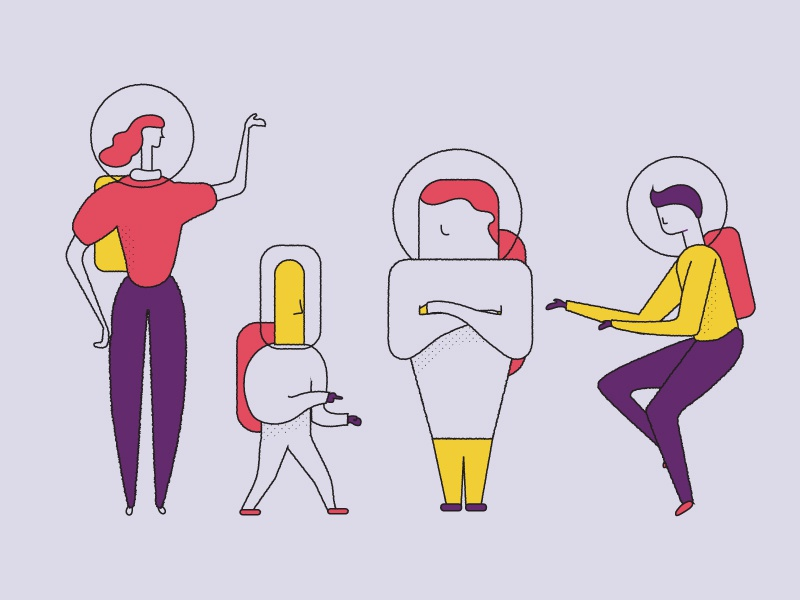 Unused Characters suit color characters space design illustrator