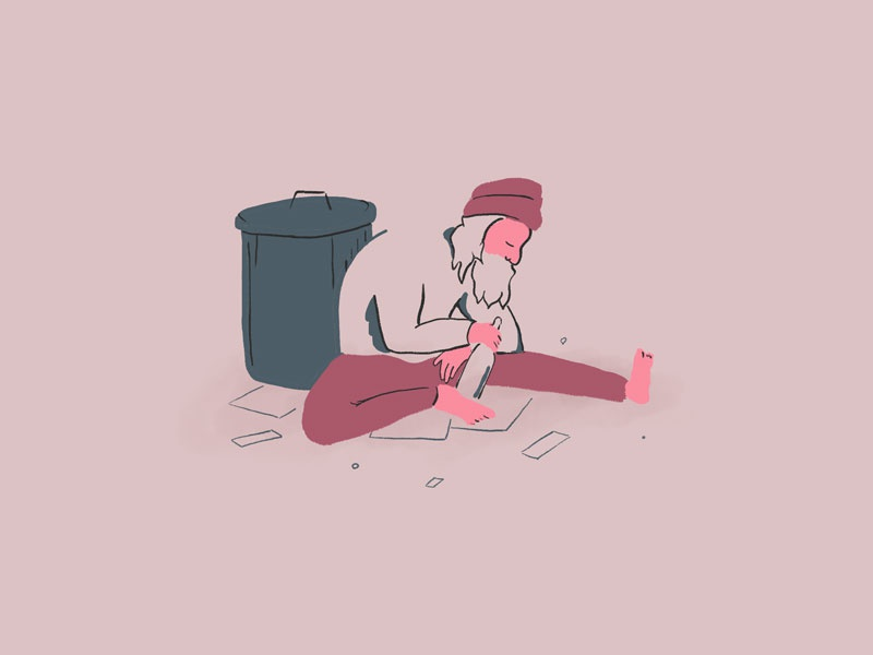 Homeless Father design flat character homeless color drawing painting photoshop illustration