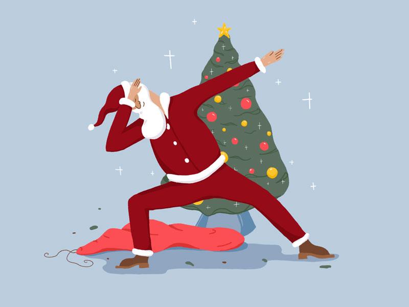 Santa's Dab dab design flat character santa color drawing painting photoshop illustration