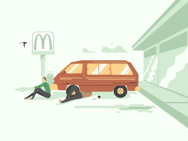 Van Repair photoshop illustrator toyota palette design color illustration character vehicle repair van