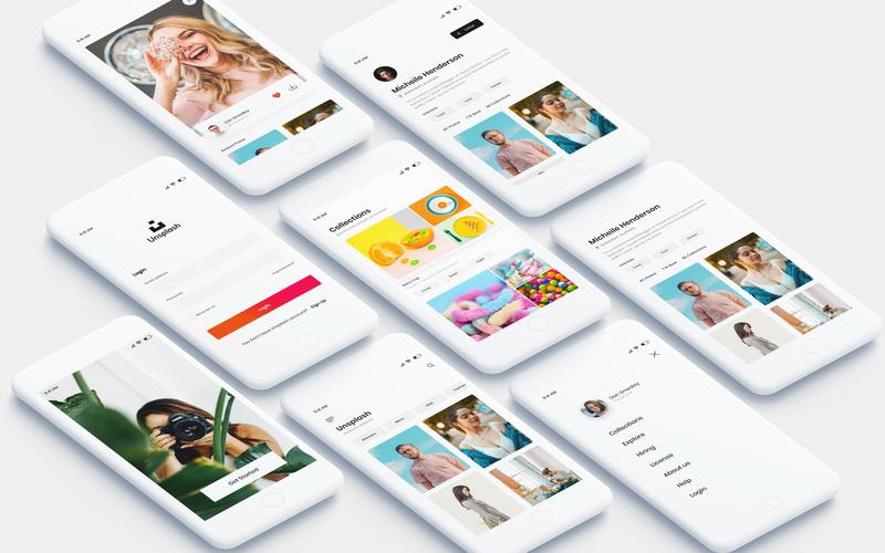 Unsplash Application Redesign branding web minimal logo iphone android ui ux design ios photoshop unsplash concept app
