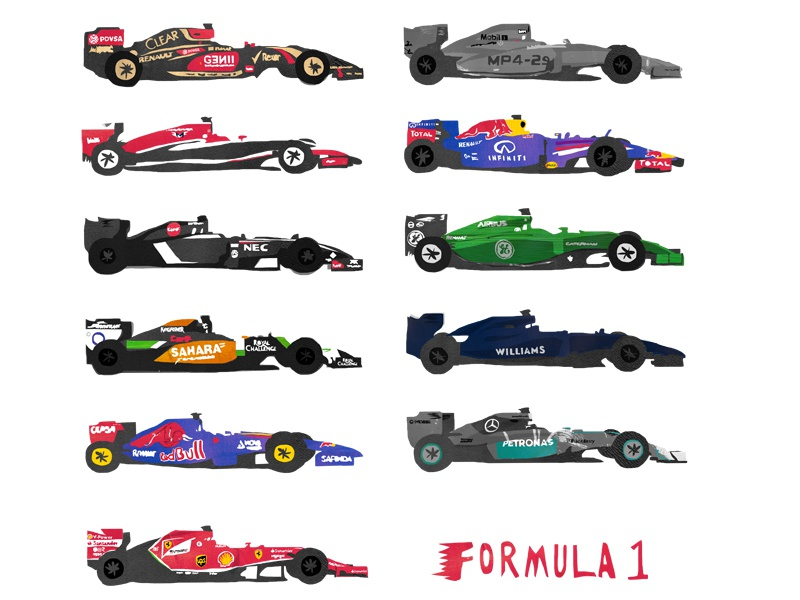 F1 2014 cars collection by Lisa Statham - Dribbble