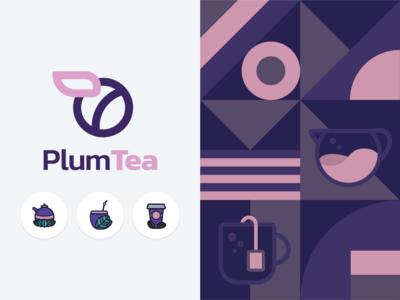 PlumTea - Tearoom & online tea shop logo concept