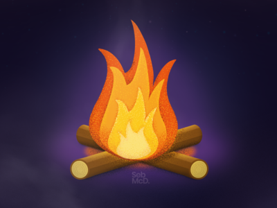 Campfire with Grain Pattern Brushes - Procreate grain texture grain logs night campfire fire illustration south wales wales cardiff procreate brushes procreateapp procreate