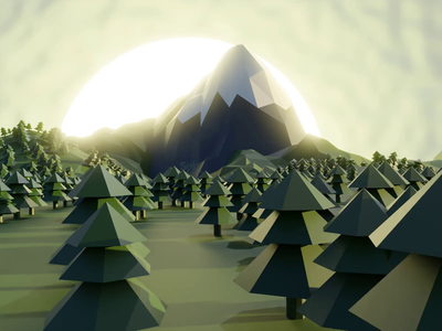 Low Poly Mountain - 3D snow trees mountain low poly lowpoly sebmcd illustrator south wales wales cardiff blendercycles blender 3d blender 3d art 3d