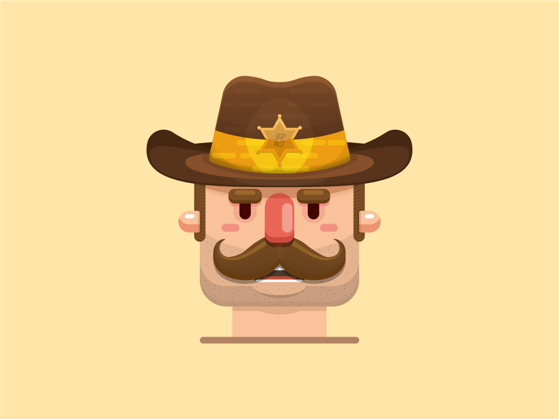 Sheriff illustration. cardiff south wales wales vector character design moustache cowboy sheriff flat design illustrator adobe