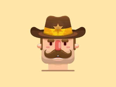 Sheriff illustration. cardiff south wales wales vector character design moustache cowboy sheriff flat design illustrator adobe