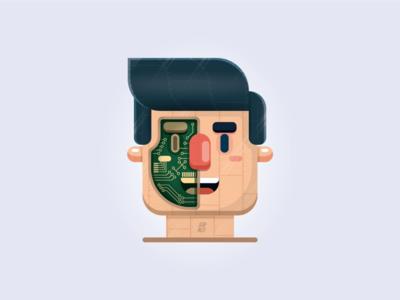 Cyborg illustration. south wales wales cardiff robot illustration adobe illustrator flat design cyborg