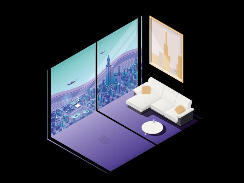 Neon City Isometric Illustration  by Seb on Dribbble