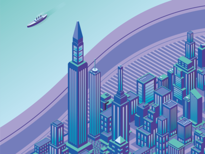 Isometric City Illustration cardiff wales south wales skyscraper buildings building purple blue neon vector 3d city flat isometric illustration illustrator