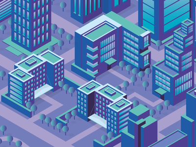Isometric City Illustration 2 wales south wales cardiff buildings building neon flat purple blue 3d vector city isometric illustration illustrator