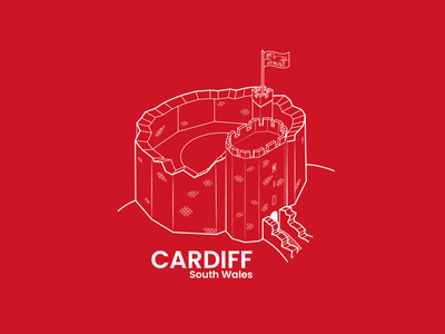 Cardiff, South Wales - dribbble Weekly Warm-up 01 illustrator isometric red south wales wales cardiff dribbble dribbbleweeklywarmup