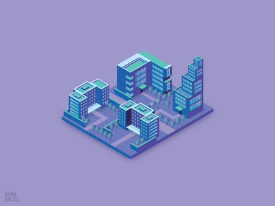 Isometric Buildings neon flat city building vector illustrator south wales wales cardiff isometric design isometric illustration isometric