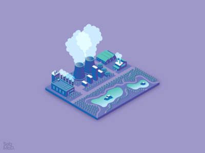 Isometric Industrial Buildings lake pollution factory industrial isometric illustration neon isometric art isometric design isometric city building south wales wales cardiff