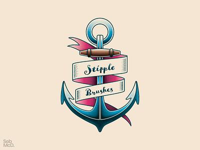 Anchor Illustration with Stipple Shading Brushes sebmcd ship sea logo vector south wales wales cardiff illustrator stipple anchor