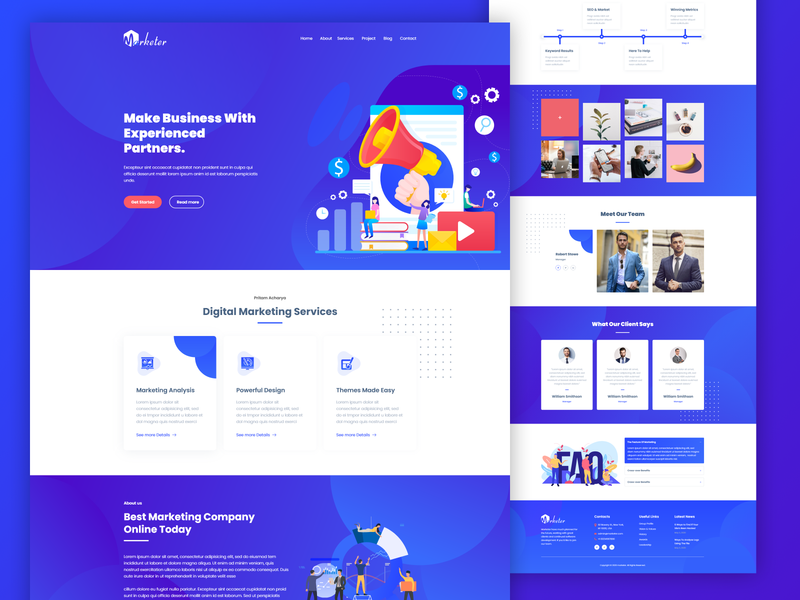 Marketer Digital Marketing ui template illustration gradient design ux web template agency graphic design website ui