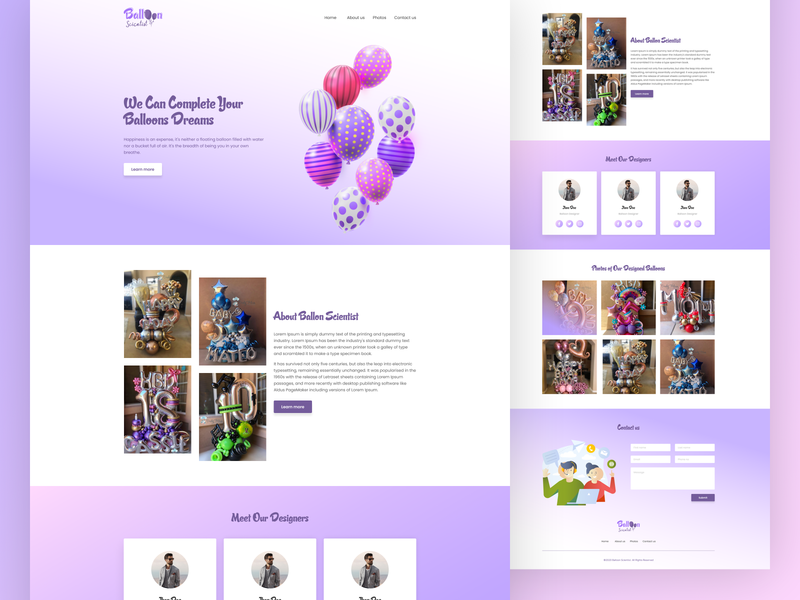 Balloon Scientist Portfolio web template figma xd web template balloons illustrations agency illustration uxui ux
