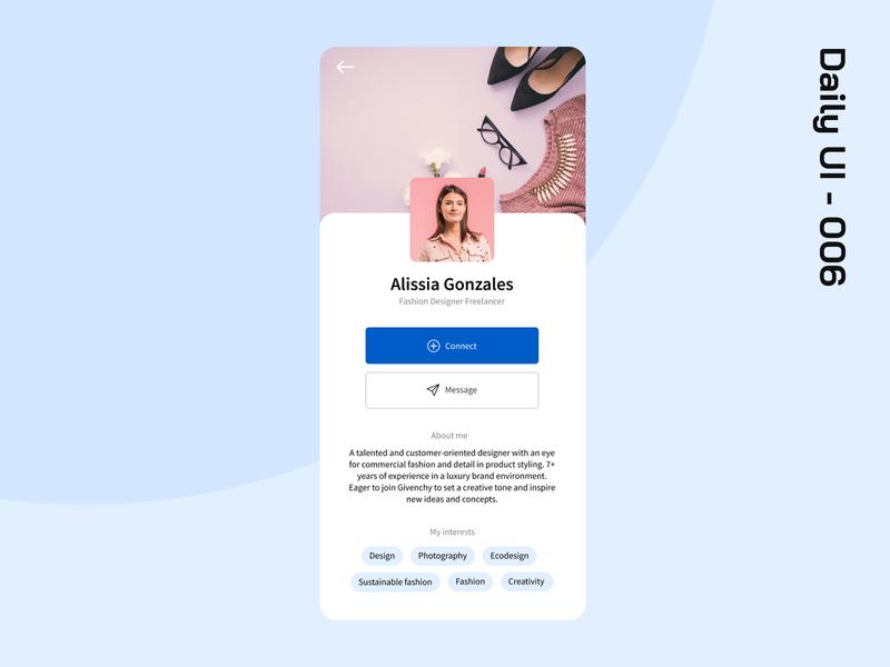 Dayli UI 006 profile design app dailyuichallenge dailyui 006 ui dailyui