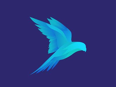 Blue Bird Illustration branding vector minimal flat design badge flying fly visual  identity visual explorations icon logo illustration bird illustration bird of paradise bird logo bird icon