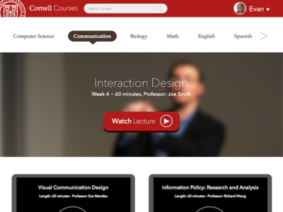 Cornell Video Lectures lecture cornell video education edtech website front-end ui flat