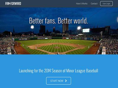 FanForward Launch milb mlb baseball pledge wireframe launch web onepage donate roboto oswald