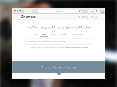 vSpread Search search form clean white filters nfl nba analytics