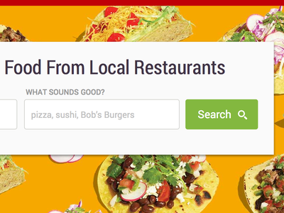 New GrubHub Home Page grubhub food search landing form input local restaurant roboto