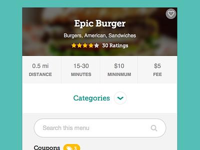 Experimental Restaurant Card card mobile categories restaurant search menu favorite museo slab