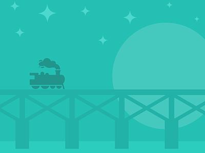 Night Ride locomotive train stars bridge illustration tracks railroad sketch ios smoke moon
