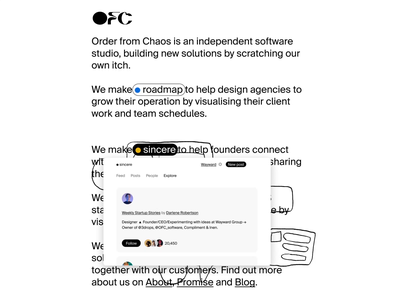 Introducing OFC blogging newsletter marketing analytics productivity software branding product design ux ui saas
