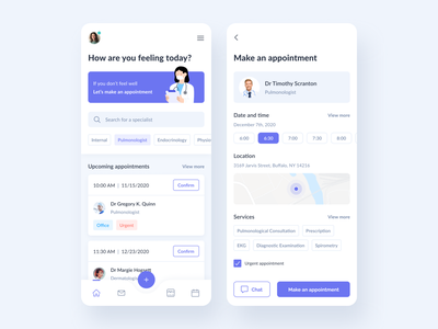 Doctor search concept profile tags search mobile doctor medical healthcare health filter menu dashboard box ux ui tile card app