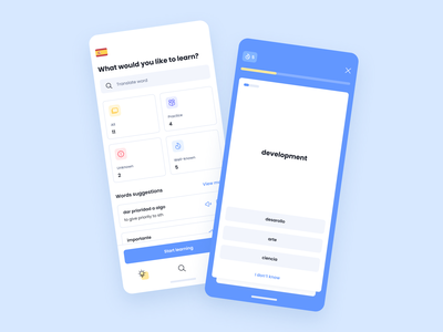 Underline app gamification stats simple clean app mobile ux dashboard menu button languages learning education flashcard box card tile colorful blue ui
