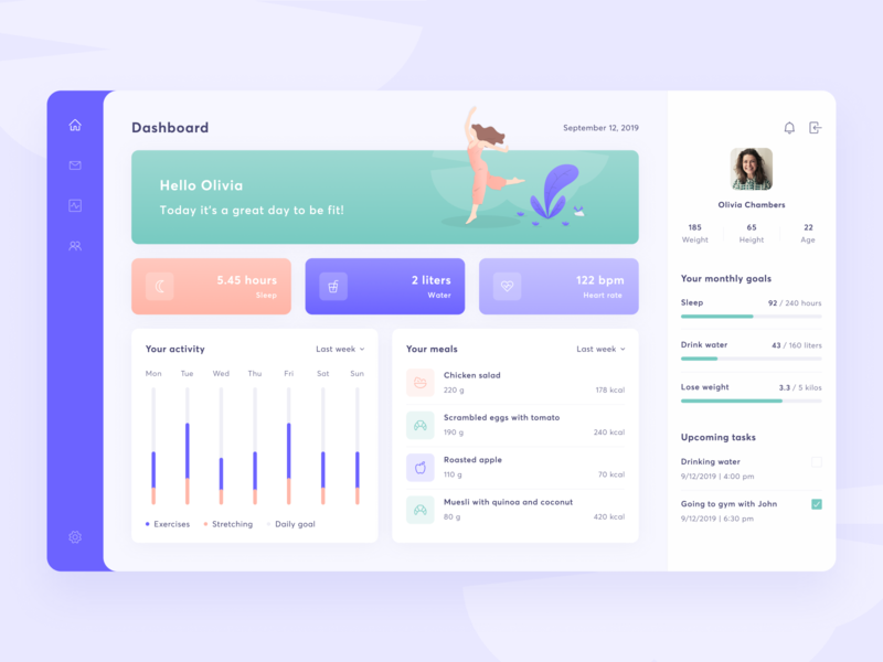 Fitness dashboard web profile panel list box card chart clean ux ui uxui tile sport sidemenu violet gradient food fitness dashboard app
