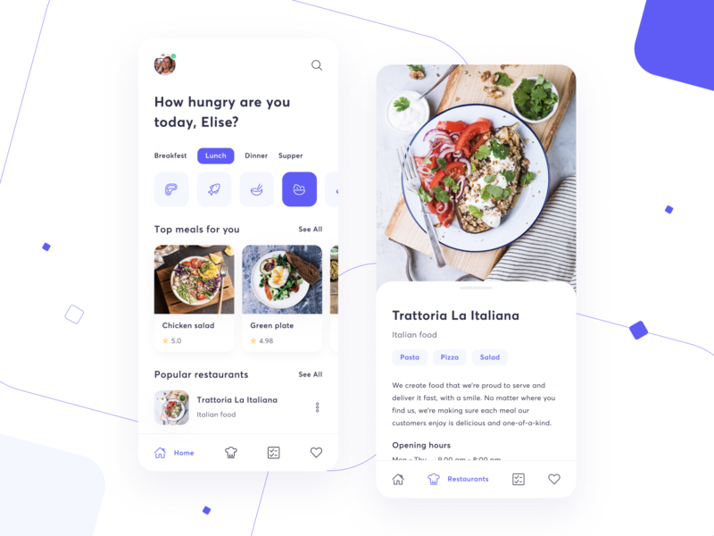 Food manager minimalistic list tag restaurant menu violet simple mobile food fitness filter uxui ux ui tile dashboard clean card box app