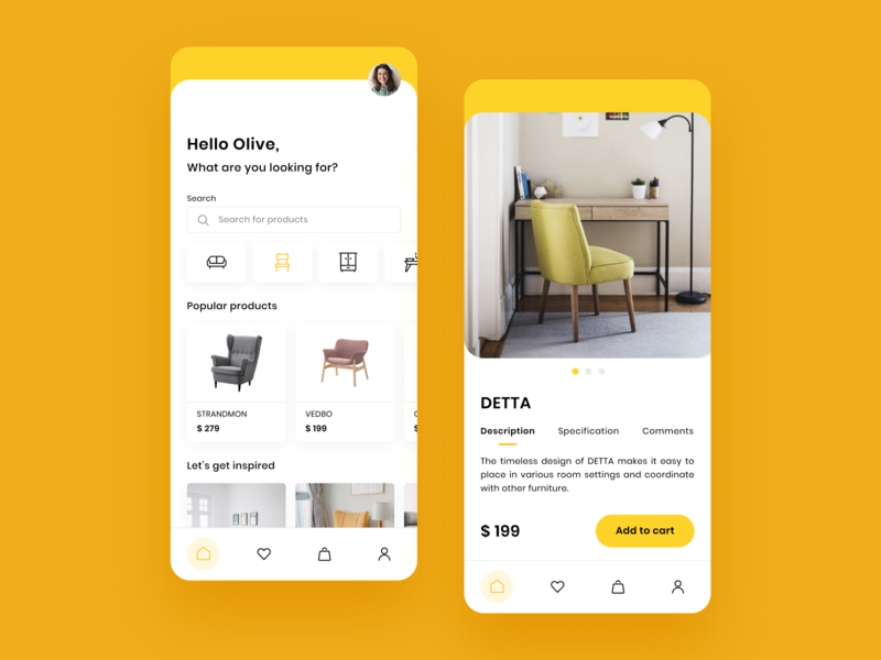 Furniture concept minimalistic mobile button menu mcommerce simple tab filter ikea furniture yellow uxui ux ui tile dashboard clean card box app