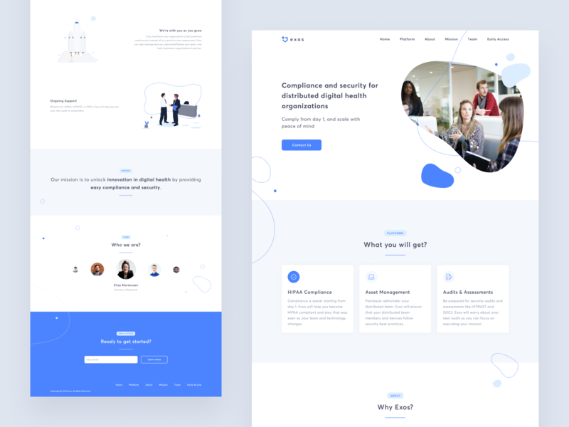 Exos landing page website contact app tile card web design uxui clean simple about header team ux ui landing pages landing page marketing site blue web
