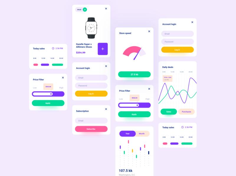 Web & app card UI kit and widgets