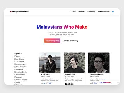 Malaysians Who Make - Redesign 2.0 identity daily ui kuala lumpur malaysia figma branding ui ux design