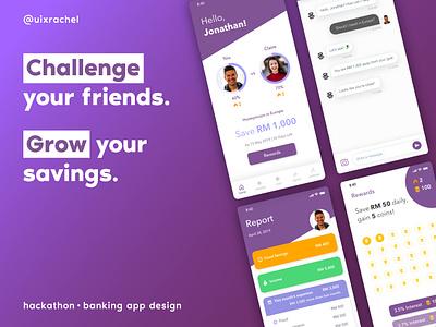 Social Challenge Banking App Concept typography icon uxdesigner uidesigner fintech banking ux identity illustration mobile ios illustrator daily ui ui adobe xd design app