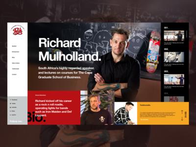 Mulholland speaker personal website ux ui mondarian minimal grid