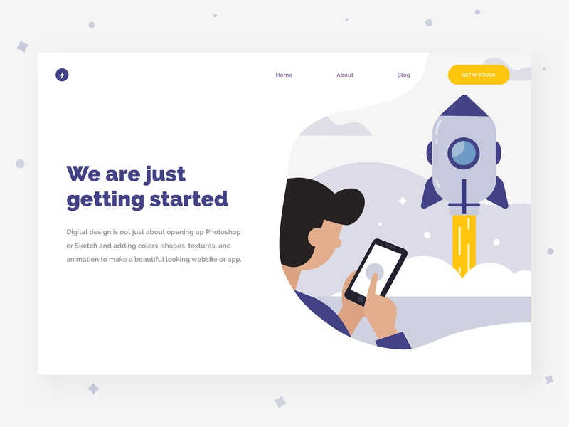 Launch something vector get started rocket launch flat  design ilustration ux flat branding social web typography illustration website landing page app design ui