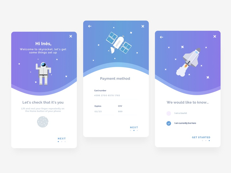 App set up onboarding gradient color intro screen payment payment method get started fingerprint space onboarding screen mobile app design app concept mobile app flat gradient ui ux illustration app screen app design