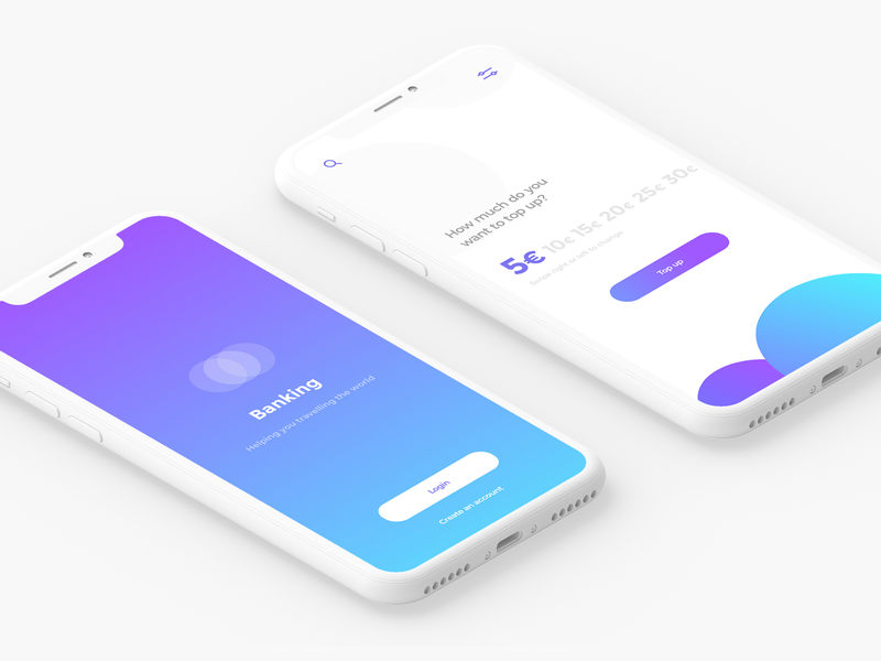 Banking App iphone x gradient design gradients bank app app dashboard create account login screen login mobile app design app concept app screen ui ux gradient finance app banking app mobile app design app